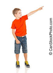 little boy pointing empty copy space