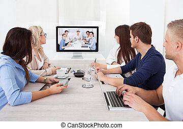 conferencia, Asistir,  vídeo, empresa / negocio, equipo