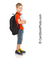male elementary school student - side view of male...