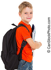 little schoolboy with schoolbag looking at the camera