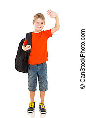 schoolboy waving goodbye - smiling schoolboy with backpack...