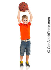 young boy playing basketball on white background