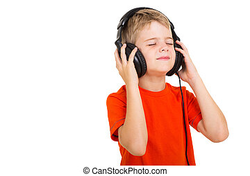 boy listening to music - cute boy listening to music with...