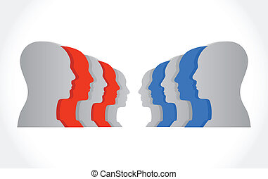 people facing each other illustration design over a white...