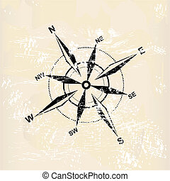 distressed compass rose on grunge background, vector...