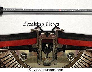 Máquina escrever, quebrar, notícia