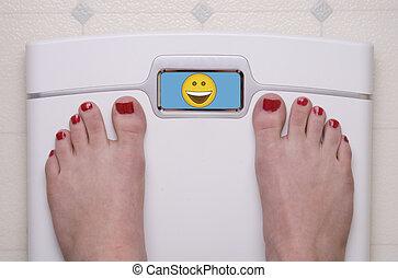 Scale with Feet Emoji Happy - Digital Bathroom Scale...