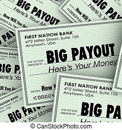 Big Payout Many Checks Rich Wealthy Money Pile - Big Payout...