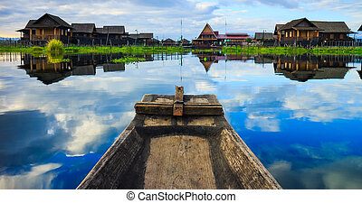 boat in inle lake, Shan state, Myanmar - traditional myanmar...