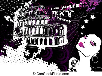 dreaming trip to rome, vector illustration