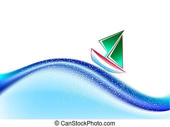 Sailing boat - Abstract wavy vector backdrop with sailing...