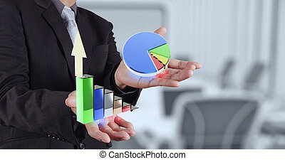 businessman hand showing 3d graphic model business strategy...
