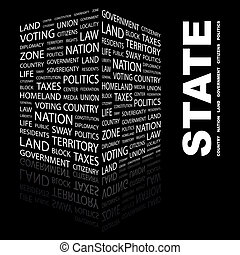 STATE. Concept illustration. Graphic tag collection....