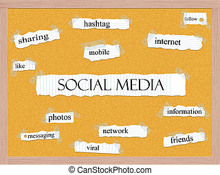 Social Media Corkboard Word Concept with great terms such as...