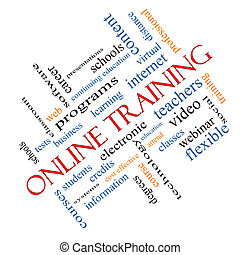 Online Training Word Cloud Concept Angled