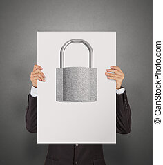 businessman hand showing poster of 3d metal padlock as security concept