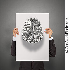 businessman hand showing poster of 3d metal human brain as...
