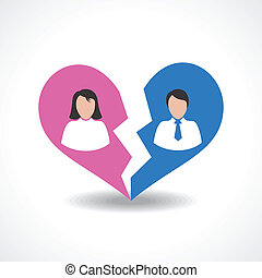 people break the love relationship concept vector