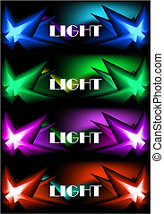 four glowing banners - Set of four glowing banners for web -...