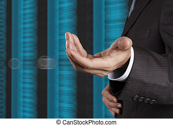 businessman hand  and server room background as concept