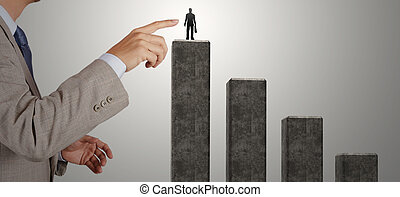 businessman hand choosing the right person for partnership...