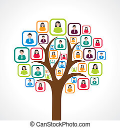 creative social media people tree - creative colorful social...