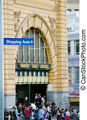 Shopping Area Street Sign - Melbourne - Shopping Area street...