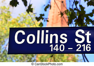 Collins Street Sign - Melbourne - Collins Street sign in...