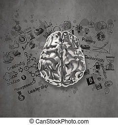 metal brain 3d with business strategy icons as concept
