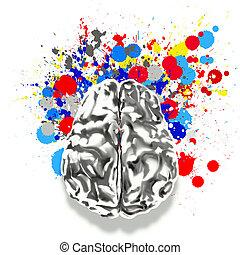 creatividad, 3D, metal, humano, cerebro, salpicadura,...