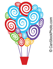 hot air balloon - vector colorful swirly hot air balloon
