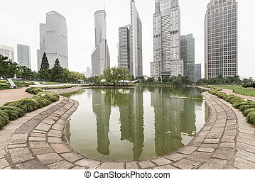 shanghai china - Park and modern building in Shanghai, China
