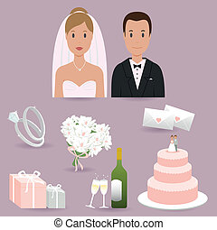 Bride, groom and wedding elements - A set of wedding themed...