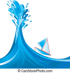 Sailing ship and big splashy wave, vector illustration