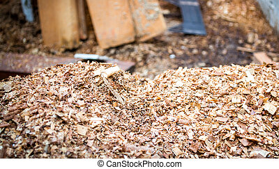 sawdust - Pile of sawdust in wooden factory