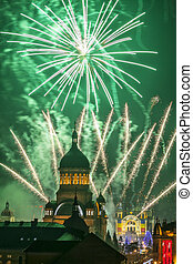 Fireworks in Cluj Napoca - Beautiful fireworks show takes...