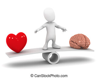 3d Heart and mind decision - 3d render of a little man on a...
