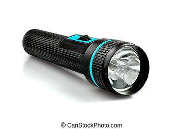 Flashlight - black flashlight isolated on white background