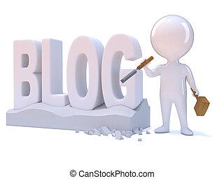 3d Little man creates a blog