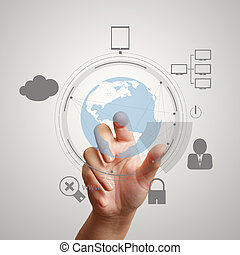hand pointing  3d world with padlock as Internet security online business concept