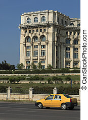 Yellow cab in Bucharest - Yellow cab in front of the House...