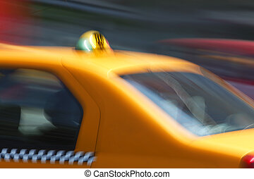 Fast taxi transport abstract - Motion blurred and soft image...