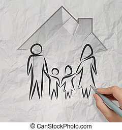 hand drawing 3d house wtih family icon on crumpled paper...