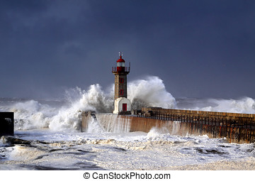 Windy coast - Entry of Douro River harbor during a storm
