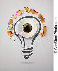 hand drawn light bulb with pencil saw dust and 3d cup of coffee on paper background as creative concept