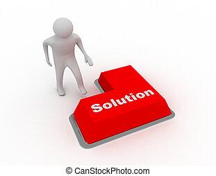 3d man push button solution
