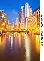 Chicago downtown - City of Chicago downtown and River with...