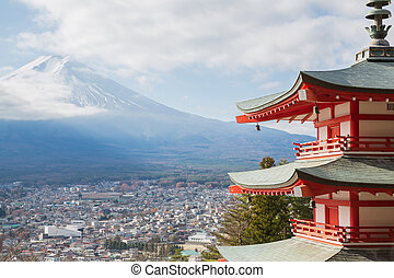 Shureito pagoda with Mountain Fuji - Red Shureito pagoda...