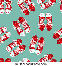 Red sneakers on green background Vector illustration