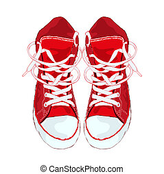 Red sneakers on white background Vector illustration